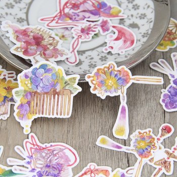 19 adet Suluboya Çin Antik Saç Iğneler Scrapbooking Çıkartmaları Pretty Hairwear DIY Craft Decorativ Sticker Paketi