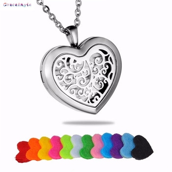 1PCS Women Necklace Metal Heart Hollow Pattern Wish Box Pad Perfume Essential Oil Aromatherapy Diffuser Locket Necklace