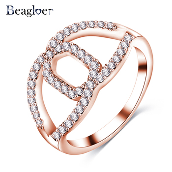 Beagloer Wedding Rings Rose Gold Color Rings for Women Fashion Aneis De Ouro Jewelry CRI1057