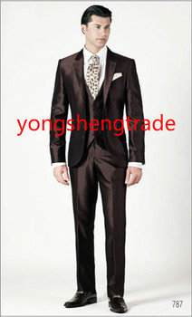 Luxury Three Piece Brown Wedding Suit In Silk Shantung Fabric Customized Groom Suit MS0386