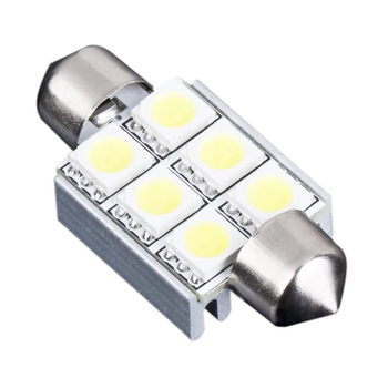 36mm 6 SMD 5050 Saf Beyaz Dome Festoon CANBUS OBC Araba 6 LED Ampul