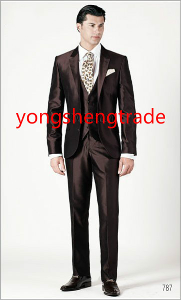Luxury Three Piece Brown Wedding Suit In Silk Shantung Fabric Customized Groom Suit MS0386 0