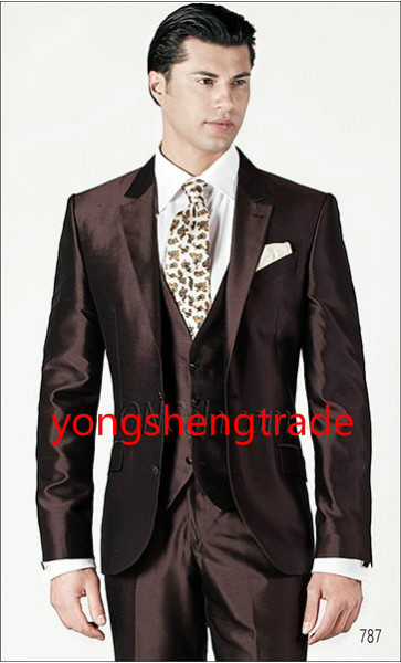 Luxury Three Piece Brown Wedding Suit In Silk Shantung Fabric Customized Groom Suit MS0386 1